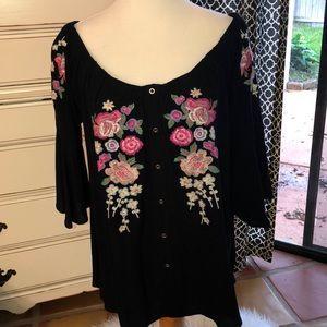 VICI Black Off Shoulder Floral Embroidery Size L